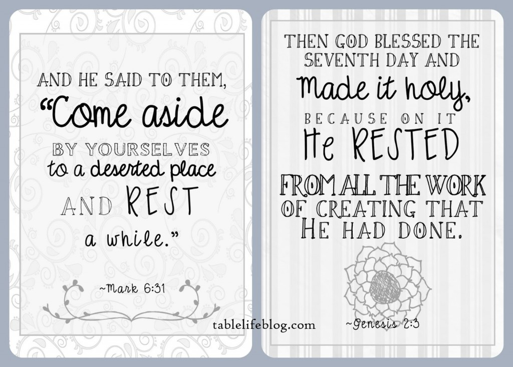 An Invitation to Rest - Free Scripture Prints for Mark 6:31 and Genesis 2:3