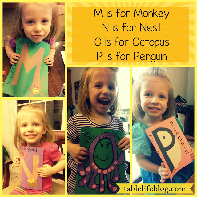 Letter of the week m monkey n nest o octopus p penguin homeschool preschool