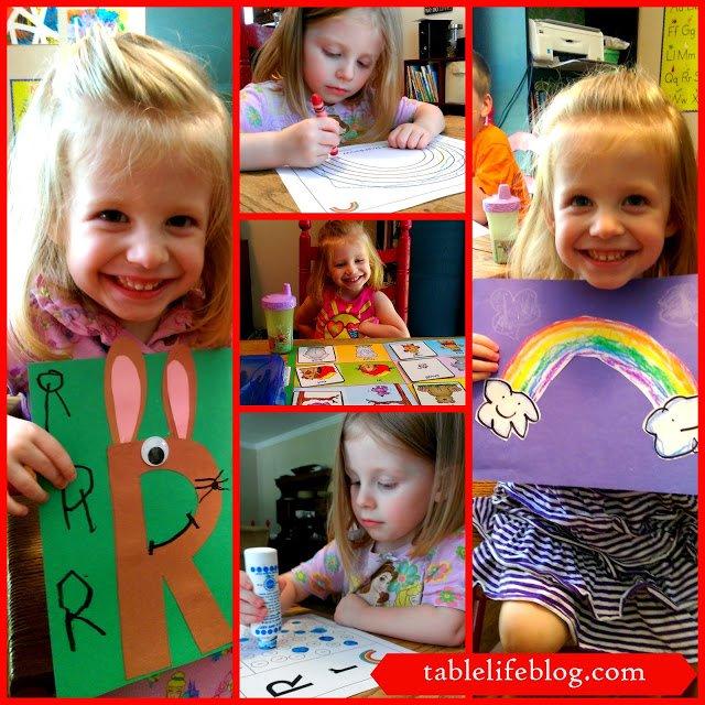 Letter of the week R rabbit rainbow preschool homeschool early learning