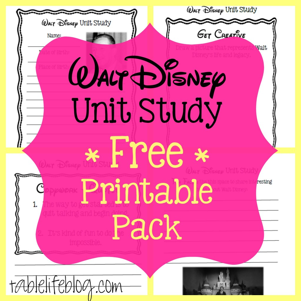 Walt Disney Printable Pack Image - Walt Disney Unit Study