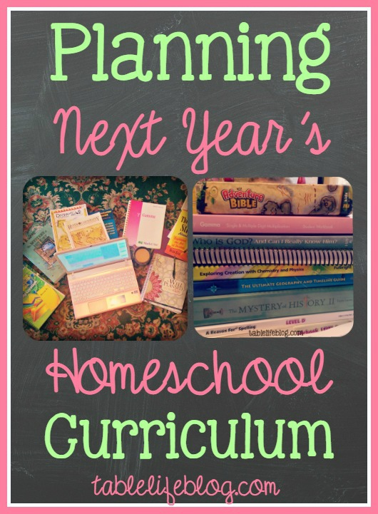 Planning Next Year's Homeschool Curriculum