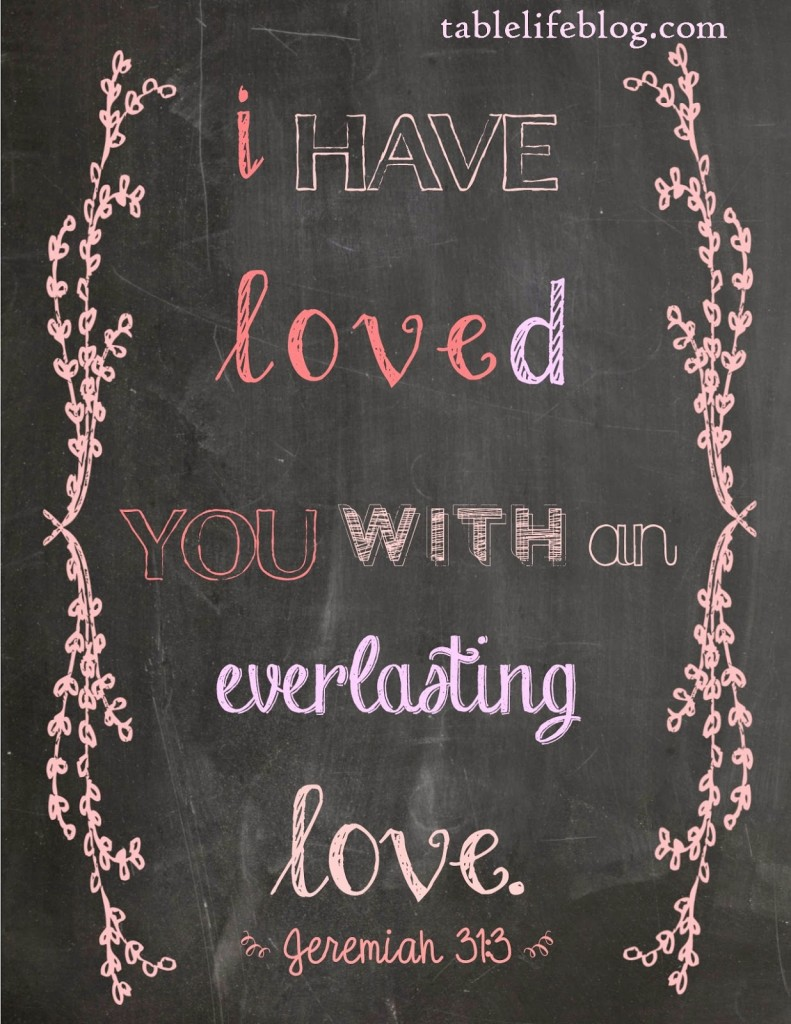 Free Valentines Scripture Printable - Jeremiah 31:3