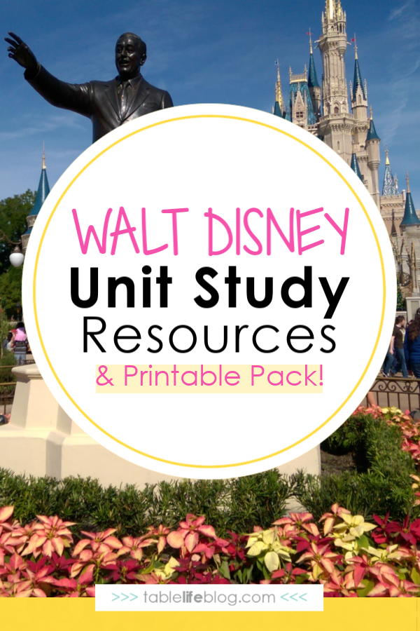 Walt Disney Unit Study Resources and FREE printable pack ~ Planning a trip to Walt Disney World or curious about the man behind all-things Disney? Dive in to the life and imagination of Walt Disney through these unit study resources.