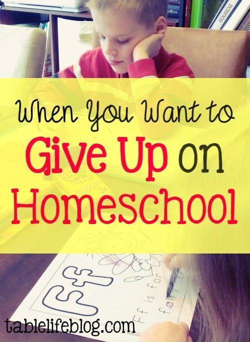 Giving Up on Homeschool