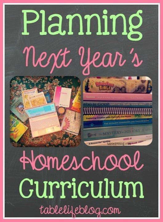 Planning Next Year's Homeschool Curriculum