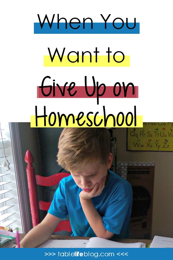 When You Want to Give Up on Homeschool