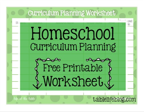 Homeschool Curriculum Planning Printable Worksheet