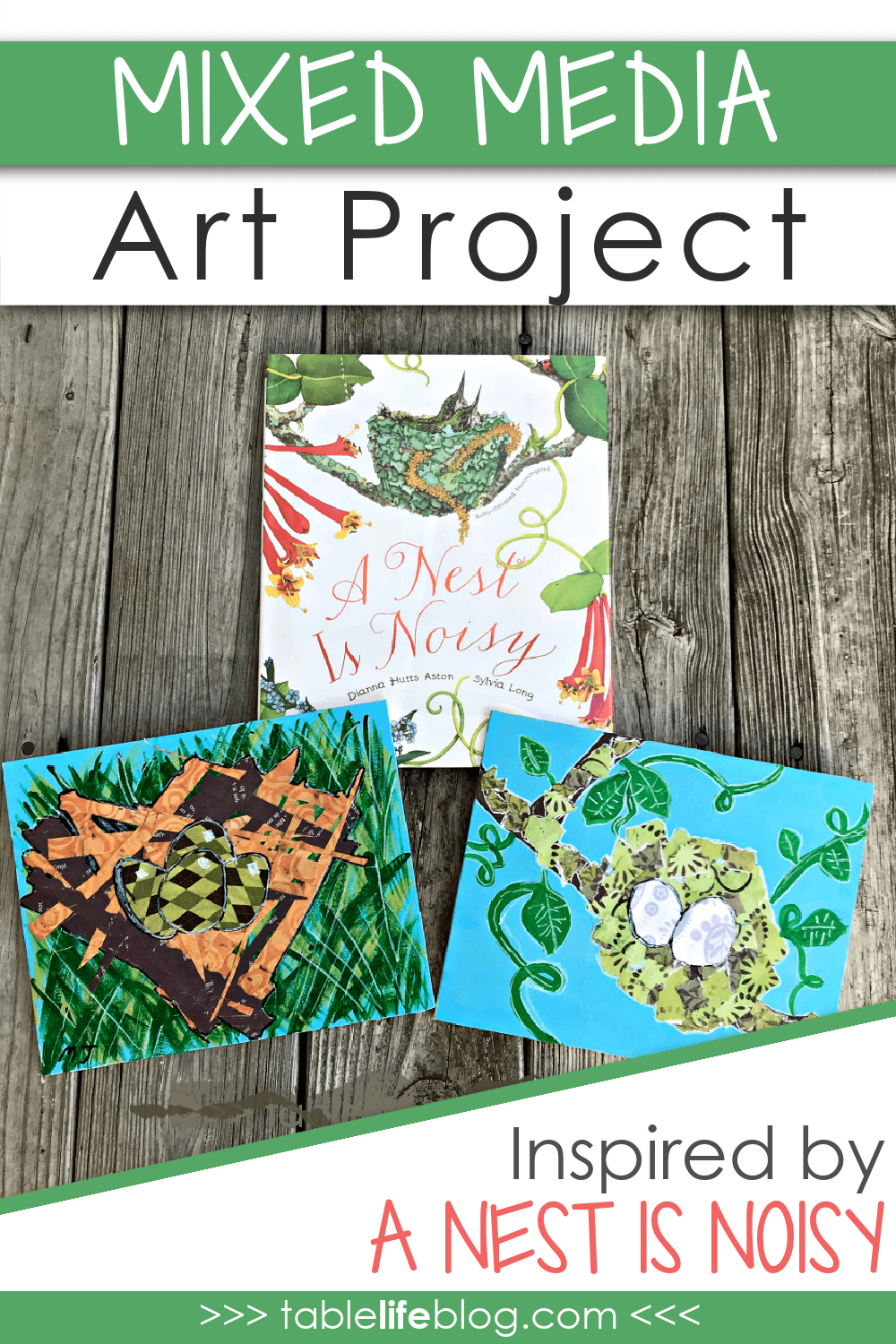 Looking for an easy bird nest art project to do with your kids? Today I'm sharing a fun mixed media project inspired by one of our favorite books, A Nest Is Noisy.