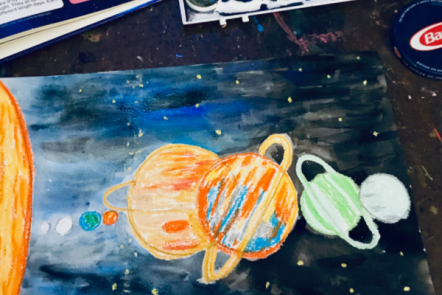 Watercolor Resist Solar System Art for Kids