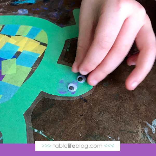 Nature Book Club: Sea Turtle Suncatcher Craft - Step 6, add eyes.