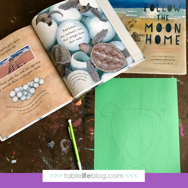 Nature Book Club: Sea Turtle Suncatcher Craft - Step 1, draw it out.