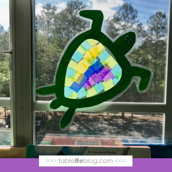 Nature Book Club: Sea Turtle Suncatcher Craft - Finished project on window