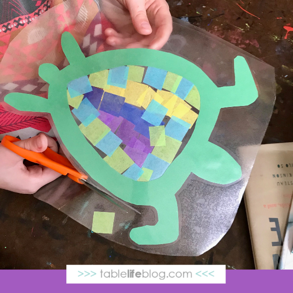 Nature Book Club: Sea Turtle Suncatcher Craft - Step 5, cut out sealed project