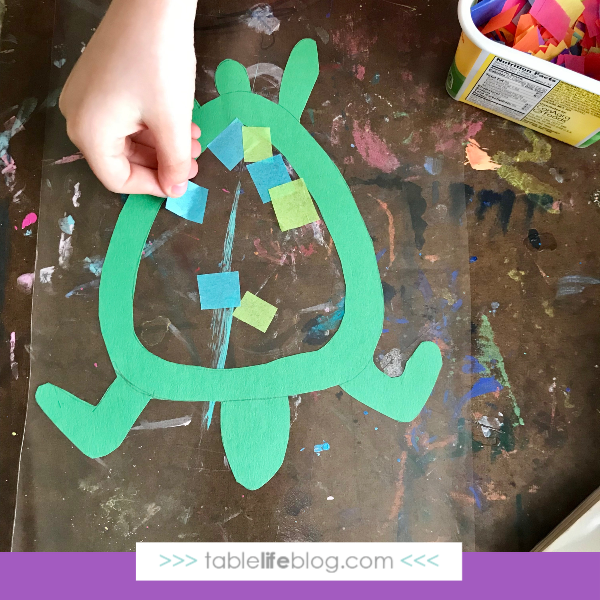 Nature Book Club: Sea Turtle Suncatcher Craft - Step 3, add tissue paper