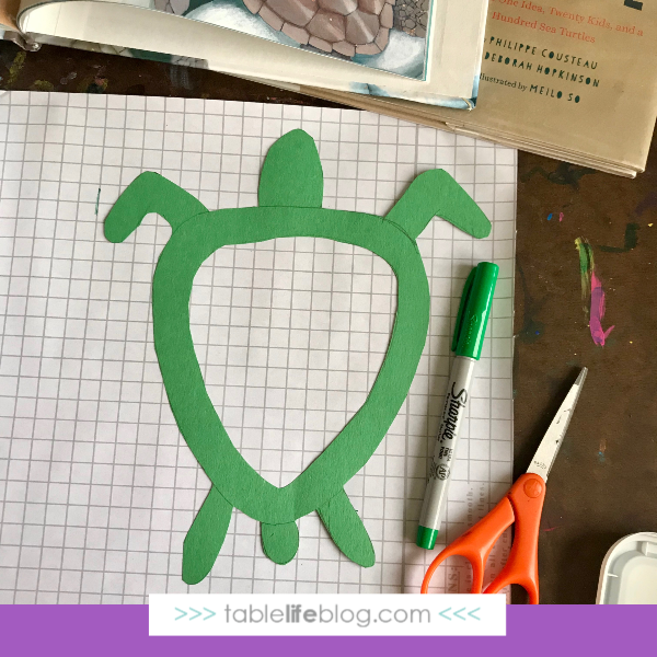 Nature Book Club: Sea Turtle Suncatcher Craft - Step 2, trace it.