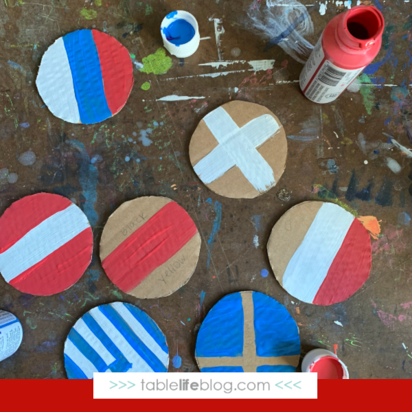 Christmas Around the World Flag Ornaments Tutorial: Step 2 - sketch and paint