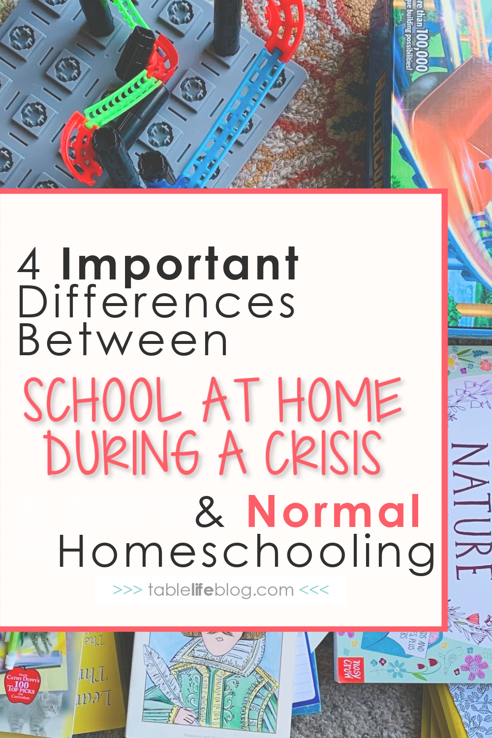 """Don't let your perception of homeschooling during times of crisis shape your view of """"normal"""" homeschooling. Let's look at 4 key differences between these two executions of home education."""