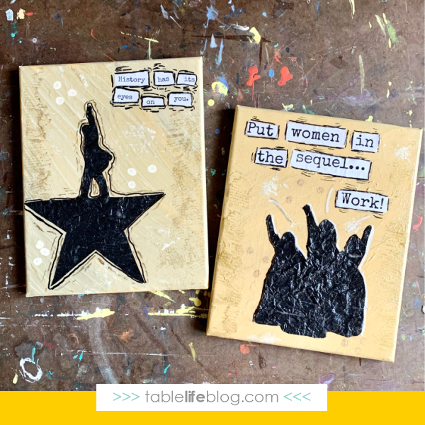 Want to share the inspiring messages from Hamilton with your kids? We've to a fun mixed media Hamilton art tutorial for you to enjoy together!