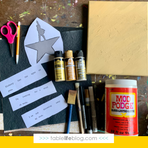 Hamilton Art for Kids - supplies needed
