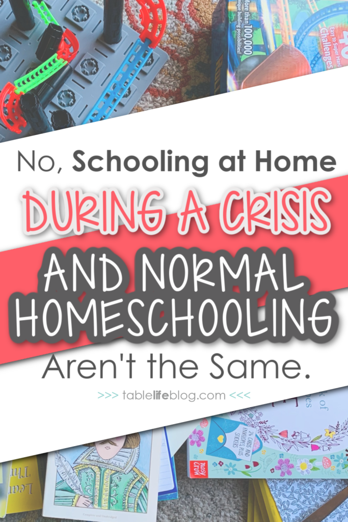 """Don't let your perception of homeschooling during times of crisis shape your view of """"normal"""" homeschooling. Here are 4 key distinctions between these two notions of home education."""