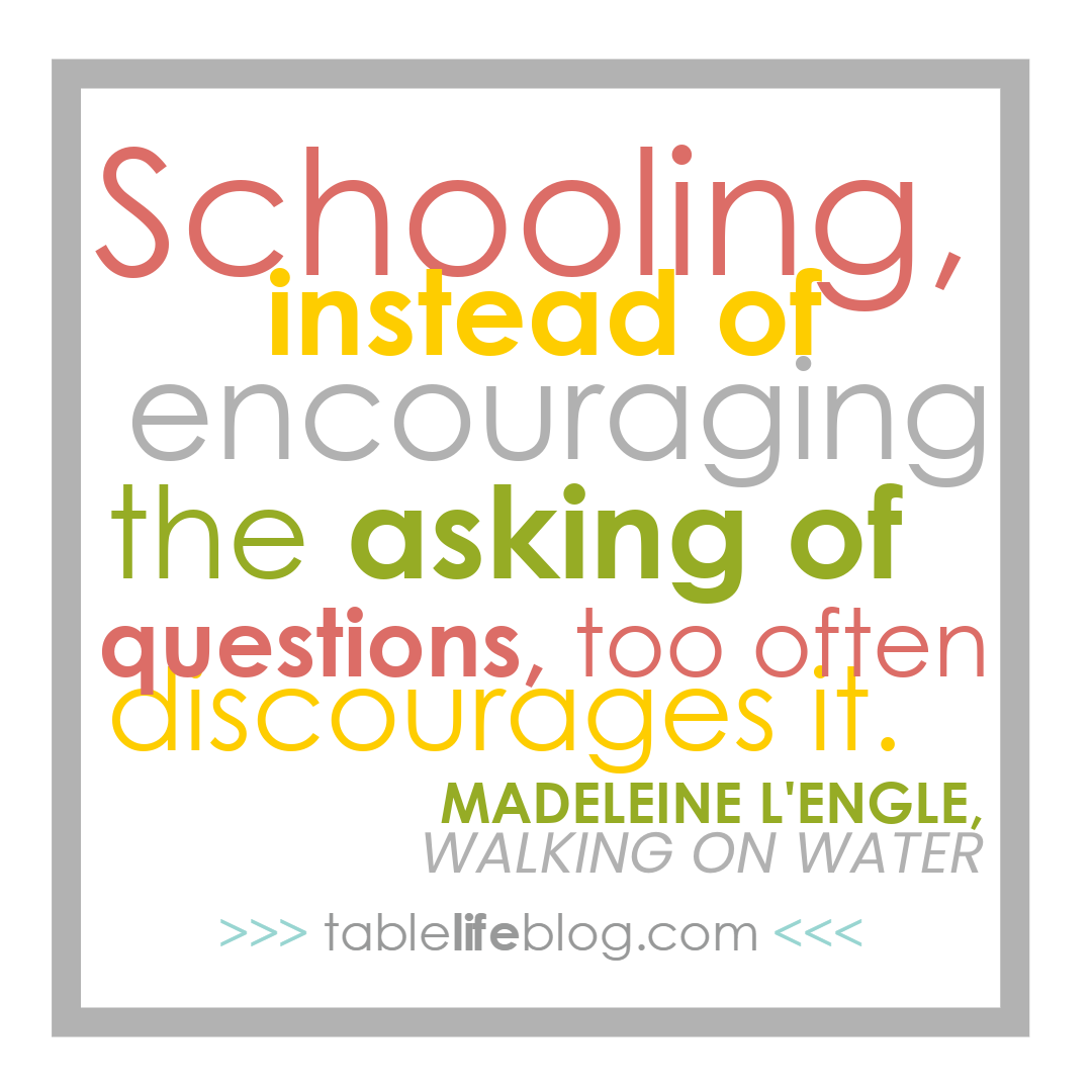 Schooling, instead of encouraging the asking of questions too often discourages it. - Madeleine L'Engle